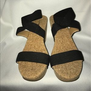 Lucky Brand Shoes Sandals Wedge Heels Black US 8